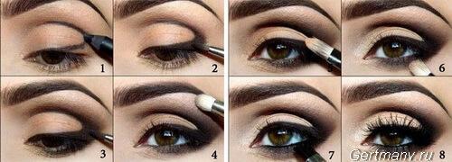 Красивый макияж для карих глаз, фото